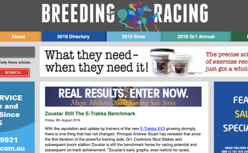 E-Trakka reading of Zoustar featured in the Racing and Breeding